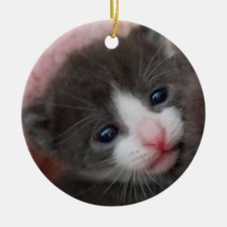 Baby Kitten Ornament Grey & White