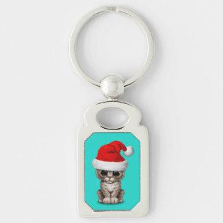 Baby Kitten Wearing a Santa Hat Keychain