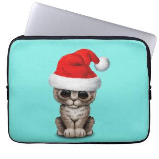 Baby Kitten Wearing a Santa Hat Laptop Sleeve