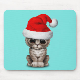 Baby Kitten Wearing a Santa Hat Mouse Pad