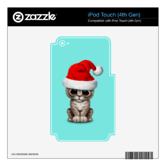 Baby Kitten Wearing a Santa Hat Skins For iPod Touch 4G