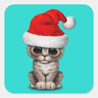 Baby Kitten Wearing a Santa Hat Square Sticker