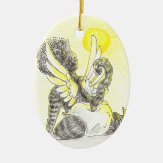 Baby Kitty Angel Ceramic Ornament