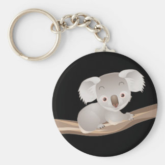 Baby Koala Basic Round Button Keychain