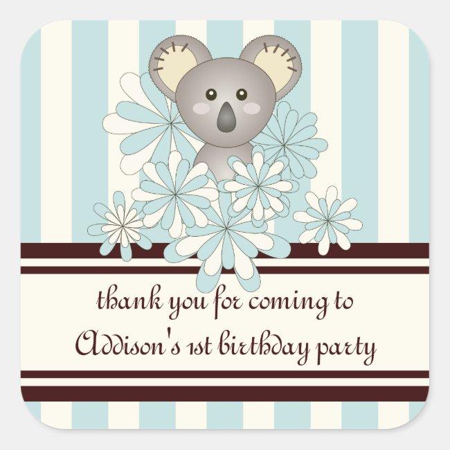Baby Koala Kids Birthday Party Favor Pastel Blue