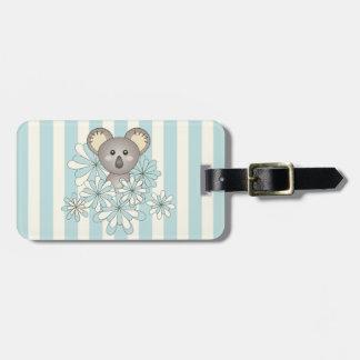 Baby Koala Kids Personalized Pastel Blue Striped Luggage Tag