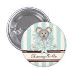 Baby Koala Pastel Blue Stripes Baby Shower 1 Inch Round Button