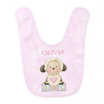 Baby Lamb - ABC's - Reversible Personalized Baby Bib