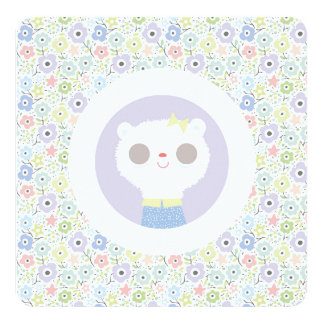 Baby lamb and parma flowers card