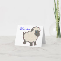 Baby Lamb Applique Blue Thanks Thank You Card