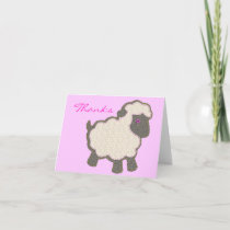 Baby Lamb Applique Pink Thanks Thank You Card
