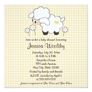 Baby Lamb Baby Shower Invitations Gender Neutral
