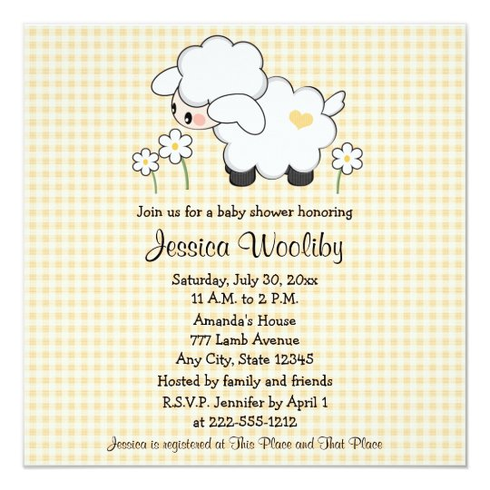 Charming Baby Lamb Baby Shower Invitations Gender Neutral