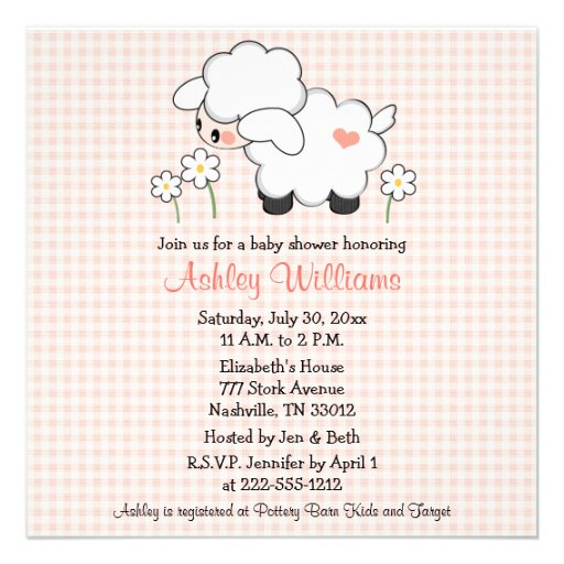 baby lamb baby shower invitations pink gingham square invitation