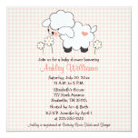 "Baby Lamb Baby Shower Invitations Pink Gingham 5.25"" Square Invitation Card"