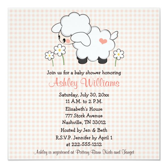 Baby Lamb Baby Shower Invitations Pink Gingham