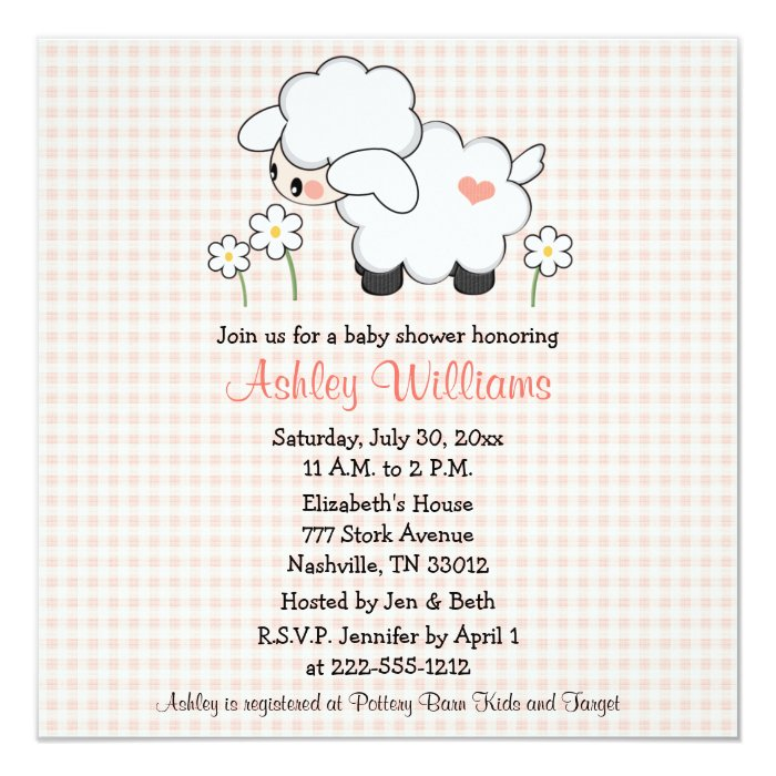 Baby Lamb Baby Shower Invitations Pink Gingham