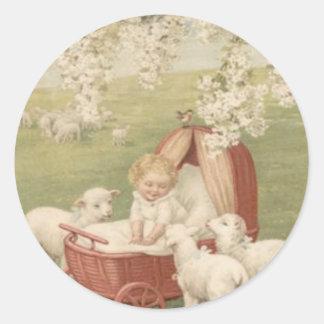 Baby Lamb Dogwood Tree Field Classic Round Sticker