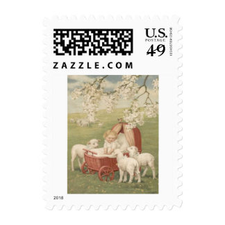Baby Lamb Dogwood Tree Field Postage Stamps