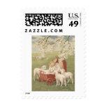 Baby Lamb Dogwood Tree Field Postage Stamp