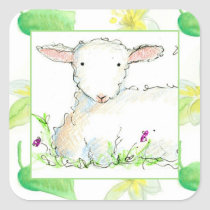 Baby Lamb Farm Animal Sheep Yellow Flowers Square Sticker