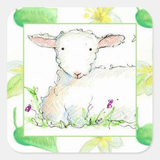 Baby Lamb Farm Animal Sheep Yellow Flowers Square Sticker