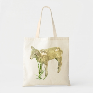 Baby Lamb in Grass Budget Tote Bag