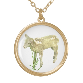 Baby Lamb in Green Grass Necklace