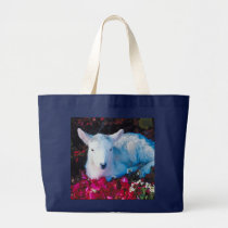 Baby Lamb In The Garden Large Tote Bag