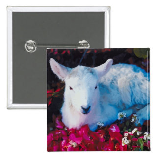 Baby Lamb In The Garden Pinback Button