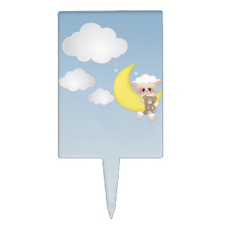 Baby Lamb, Moon and Clouds Cake Topper