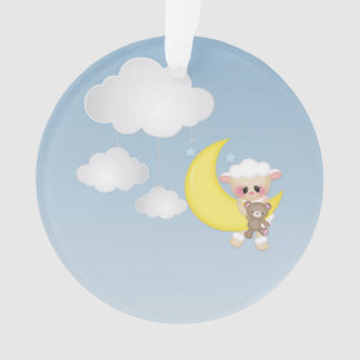 Baby Lamb, Moon and Clouds Ornament