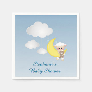 Baby Lamb, Moon and Clouds Paper Napkin