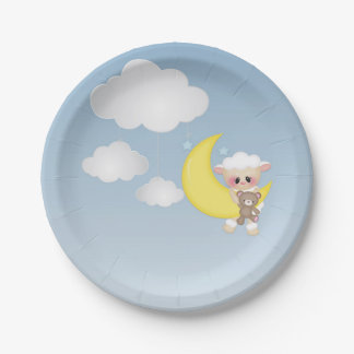 Baby Lamb, Moon and Clouds 7 Inch Paper Plate