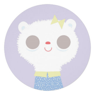 Baby lamb plushie illustration & floral pattern personalized invitation