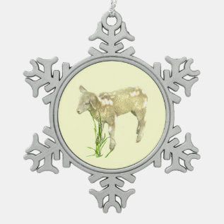 Baby Lamb Yellow Pewter Snowflake Ornament at Zazzle