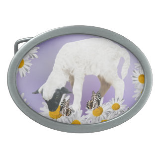 Baby Lambs first steps Oval Belt Buckle
