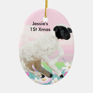 Baby Lambs first steps Ceramic Ornament