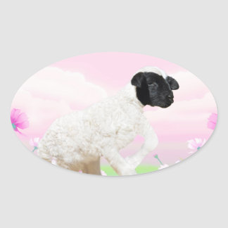 Baby Lambs first steps Oval Sticker