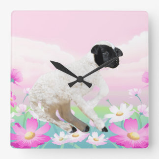 Baby Lambs first steps Square Wall Clock