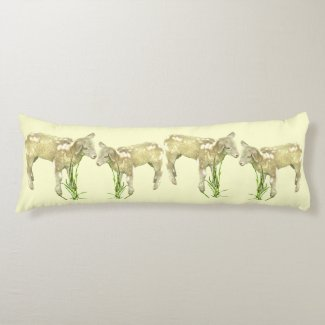 Baby Lambs on Yellow Body Pillow