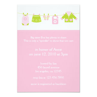 "Baby Laundry 2nd Shower Invitation Card 5"" X 7"" Invitation Card"