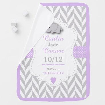Toddler & Baby themed Baby Lavender Elephant Birth Keepsake Design Baby Blanket