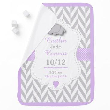 Valentines Themed Baby Lavender Elephant Birth Keepsake Design Baby Blanket