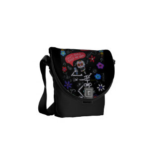BABY LIGHT MY FIRE DAY OF THE DEAD MESSENGER BAG