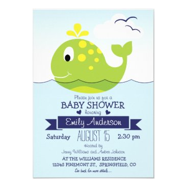 Beach Themed Baby Lime Green Whale; Nautical Ocean Baby Shower Card