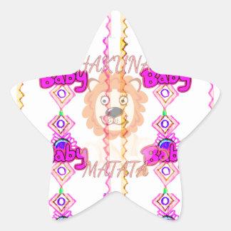 Baby Lion Cub Hakuna Matata graphic art text desig Star Sticker