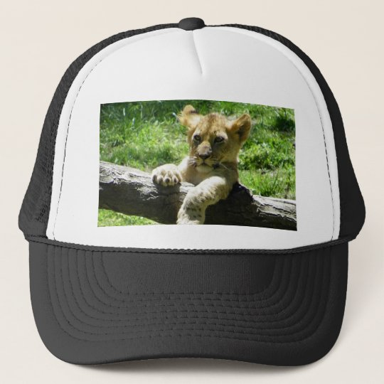 Baby Lion Cub On Branch Trucker Hat