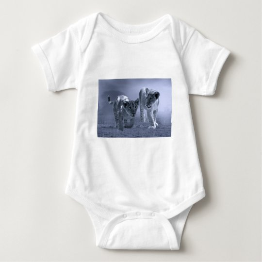 Baby lion cubs at play baby bodysuit