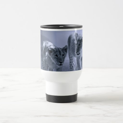Baby lion cubs at play 15 oz stainless steel travel mug